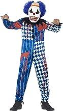 Smiffy'S 44327M Disfraz De Payaso Siniestro Deluxe Con Traje Entero Careta De Goma, Azul, M - Edad 7-9 Años , color/modelo surtido