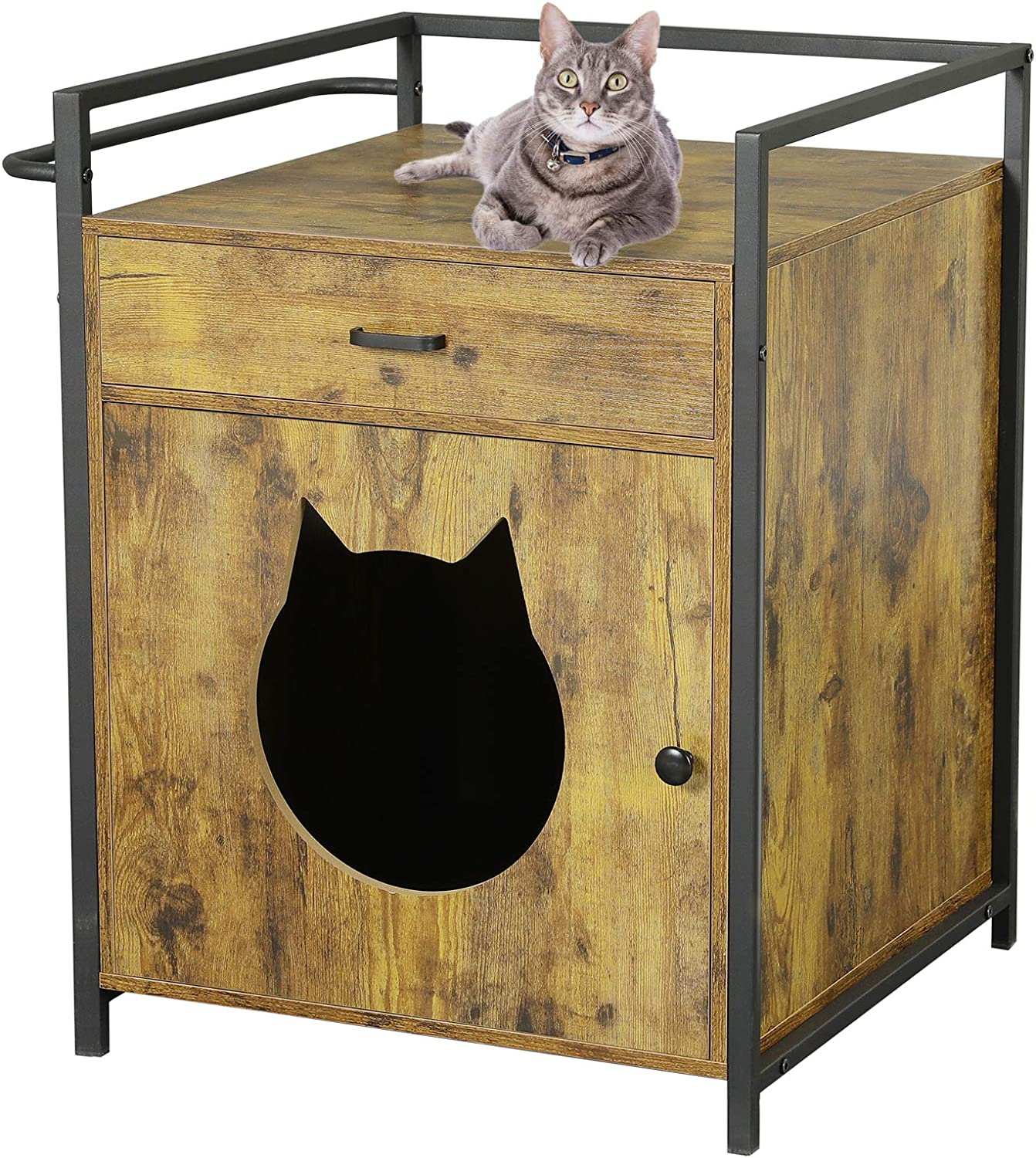 MSmask Large Cat Litter Box Enclosure with Storage Drawer, Hidden Litter Tray Furniture, Privacy Cat Washroom Bench, Pet Crate Washroom House Nightstand with Iron and Wood Sturdy Structure
