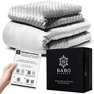 Mibio Cooling Weighted Blanket 15 lbs, 60x80 inch Queen Size, Cool Weighted Throw Anxiety Blanket, use as Heavy Blanket for Adults