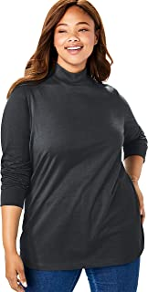 Woman Within Women's Plus Size Petite Perfect Long Sleeve Mock Turtleneck
