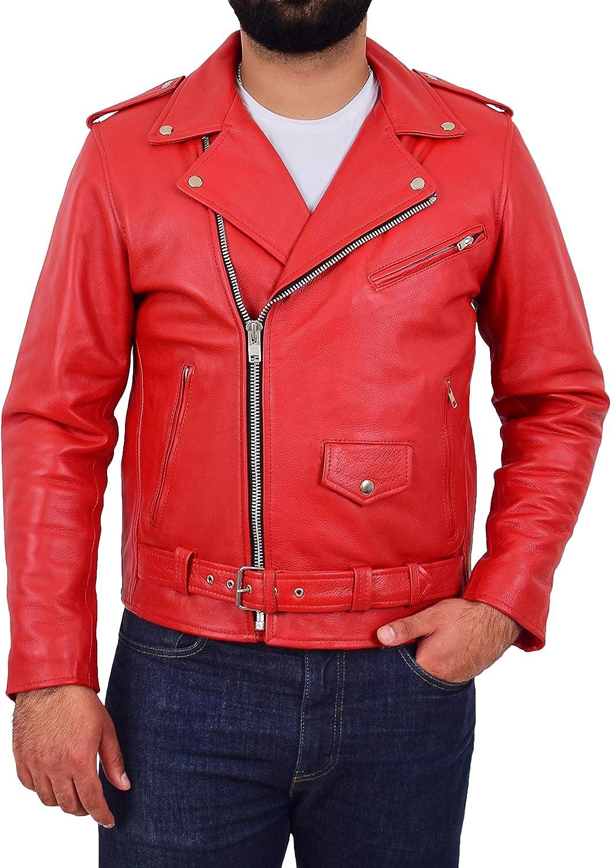 Genuine Cowhide Biker Jacket Heavy Duty Red Leather Brando Retro Coat Rock