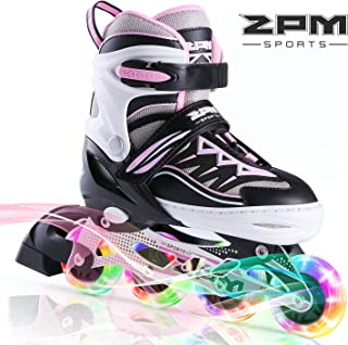 2PM SPORTS Cytia Pink Girls Adjustable Illuminating Inline Skates with Light up Wheels, Fun Flashing Beginner Roller Skates for Kids