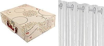 Kuber Industries Wooden Three Rod Bangle Storage Box (Assorted)-CTKTC3950 & PVC 1 Piece Eyelet 30 Mm Ac Curtain 7 Feet (Transparent)(54X84 Inch)- CTKTC5670 Combo
