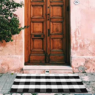 "BBONNIE Buffalo Plaid Door Mat Black and White Checkered Rug Cotton Hand-Woven Front Porch Rug Washable Outdoor Doormats for Entrance Way Outdoors (23.6"" x 51.2"")"