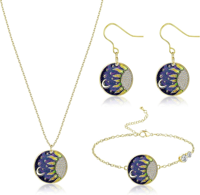 Subiceto Gold Plated Moon Star Sun Pendant Necklace Drop Dangle Earrings Bracelet Starry Sky Jewelry Set for Women