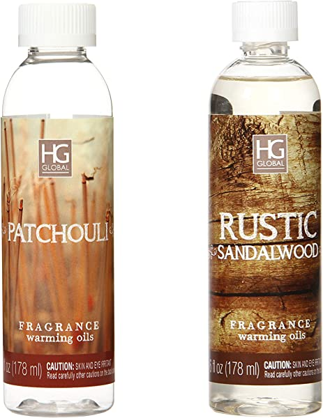 Hosley Set Of 2 Rustic Sandalwood And Patchouli Fragrance Warming Oils 6 Ounce Ideal For Spa Meditation Bathroom Settings O5