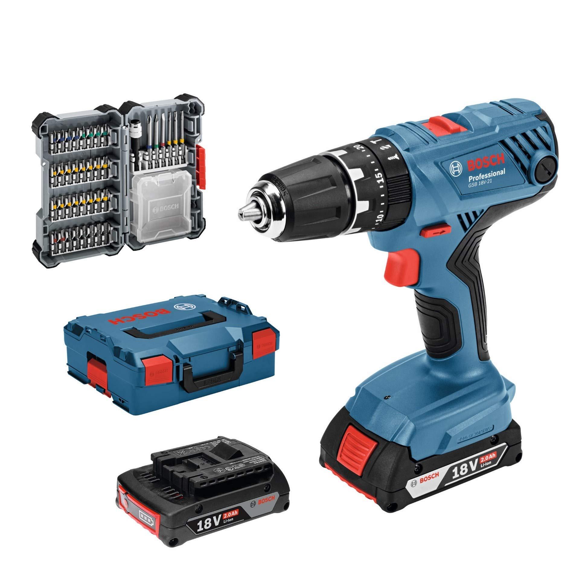Bosch Professional GSB 18V-21 System Taladro percutor, Incl batería de 2 x 2.0 Ah, Juego de Accesorios de 40 Piezas, en L-BOXX 136, Amazon Edición, 36 W, 18 V, Azul: Amazon.es: Bricolaje y herramientas