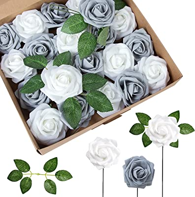 Attmu Artificial Flowers 25 Pcs Fake Roses Real Looking Silver Grey Roses Foam Roses with Stems for DIY Wedding Bouquets Centerpieces Arrangements Party Home Decoration