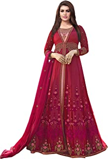 Ethnic Yard Womens Silk Anarkali Embroidered Semi-Stitched Salwar Suit…