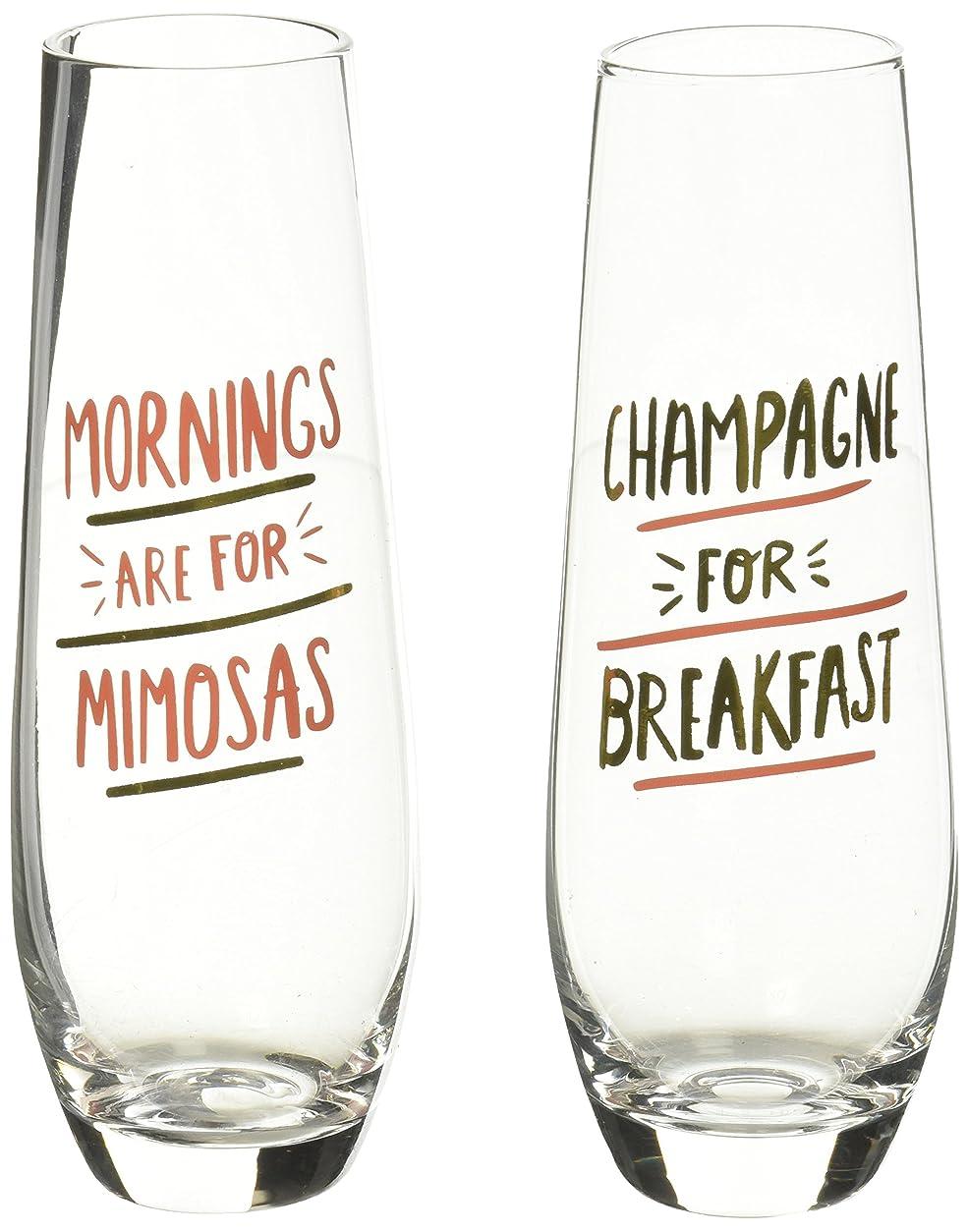成人期着服大事にするAbout Face Stemless Champagne Flutes Mornings are for Mimosas and Champage for Breakfast