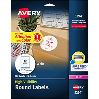 """Avery High Visibility 2.5"""" Round Labels with Sure Feed for Laser Printers, 300 White Labels (5294)"""