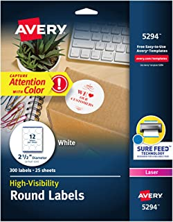 "Avery 5294 High Visibility 2.5"" Round Labels with Sure Feed for Laser Printers, 300 White Labels"