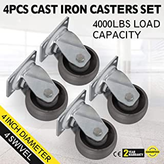 Ideal for Dollies, Platform Trucks, Warehouse Carts, and Freight Terminals with 4 Swivel Cast Iron Casters Set of 4 Zinc Plating 1000Lbs Heavy Duty