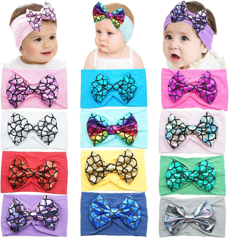 12Colors Baby Girl Nylon Headbands 4Inch Mermaid Hair Bows Elastics Soft Hairbands for Baby Girls Newborn Infant Toddlers Kids