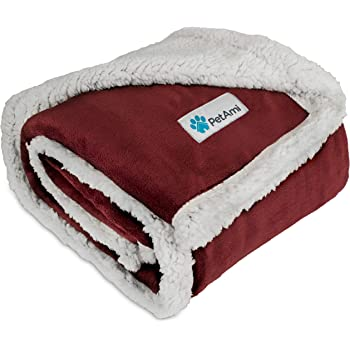PetAmi Waterproof Dog Blanket for Medium Dogs, Puppies, Small Cats   Soft Sherpa Fleece Pet Blanket Throw for Sofa, Couch   Thick Durable Pet Bed Cover, Floor Mat 30 x 40 inches