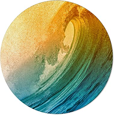 Ocean Wave Area Rug Round Rugs 5ft, Teal Yellow Collection Area Runner Circle Rug (Non-Slip) Carpets Kids Living Room Bedroom