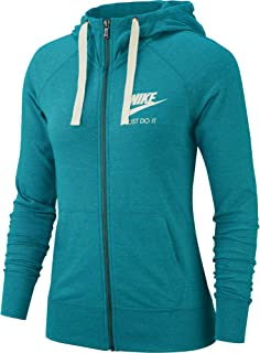 Nike Womens Sportswear Gym Vintage Full-Zip, Spirit Teal/Sail, Size Small