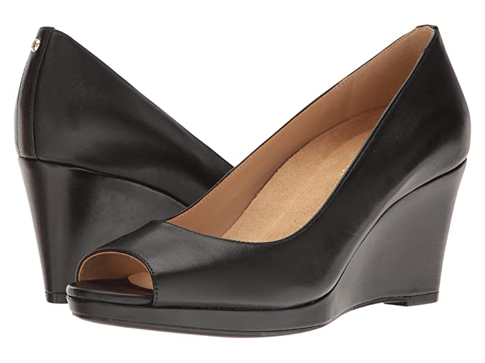 Rockabilly Shoes- Heels, Pumps, Boots, Flats Naturalizer Olivia Black Leather Womens Wedge Shoes $69.30 AT vintagedancer.com