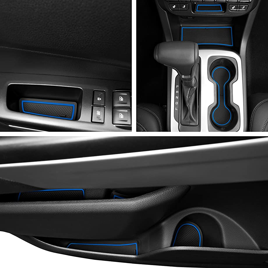Custom Fit Cup, Door, Console Liner Kit Accessories for Chevy Colorado and GMC Canyon 2019 2018 2017 2016 2015 26pc (Crew Cab) (Blue Trim)