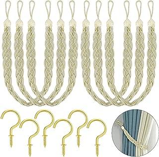 Hysagtek 6 Pcs Curtain Tie Rope Tiebacks Belt Braided Curtain Rope Holdbacks Holders with 12 Pcs Metal Curtain Tieback Hooks for Window Curtain/Drapes, Beige