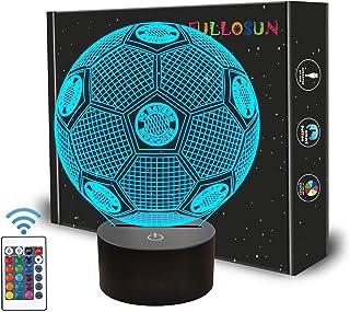 Voetbalcadeaus, kindernachtlampje, voetbal, 3D-optische illusie lamp met afstandsbediening, 16 kleuren veranderen, voetba...