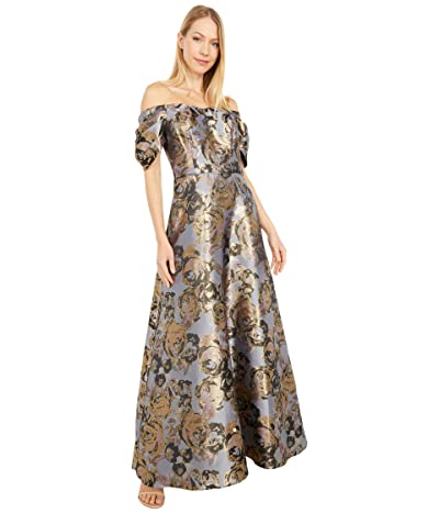 Adrianna Papell Petite Floral Jacquard Off Shoulder Puff Sleeve Gown (Moonlight Blue) Women