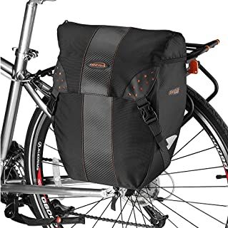 Ibera Bicycle PakRak Clip-On Quick-Release All Weather Single Pannier with Rain Cover, Black