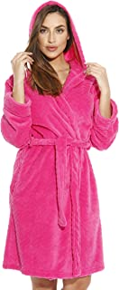 Kimono Robe Chevron Texture Fleece Hooded Bath Robes for Women