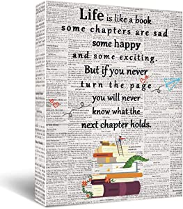 Life is a like a book Canvas Wall Art, Inspirational Gifts Canvas Wall Art Quotes for Kids Girl Sister lovers mom Women, Living Room Bedroom Office Teen Boy Girl Room Décor 11.5
