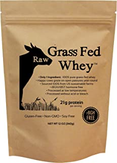 Raw Grass Fed Whey - Happy Healthy Cows, COLD PROCESSED Undenatured 100% Grass Fed Whey Protein Powder, GMO-Free + rBGH Fr...