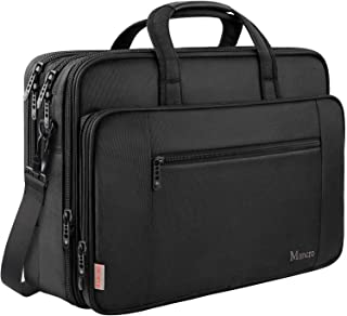 17 Inch Laptop Briefcase for Men, Soft Business Bag for Women, Big Expandable Computer Shoulder Bag, Carry on Large Laptop Case, Waterproof, Mancro Office Bag Fits 17 15.6 Inch Laptop, Black
