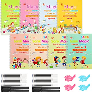 8 Pieces Magic English Practice Calligraphy Copybook Set for Kids Number and Letter Tracing Book, Drawing and Math Practic...