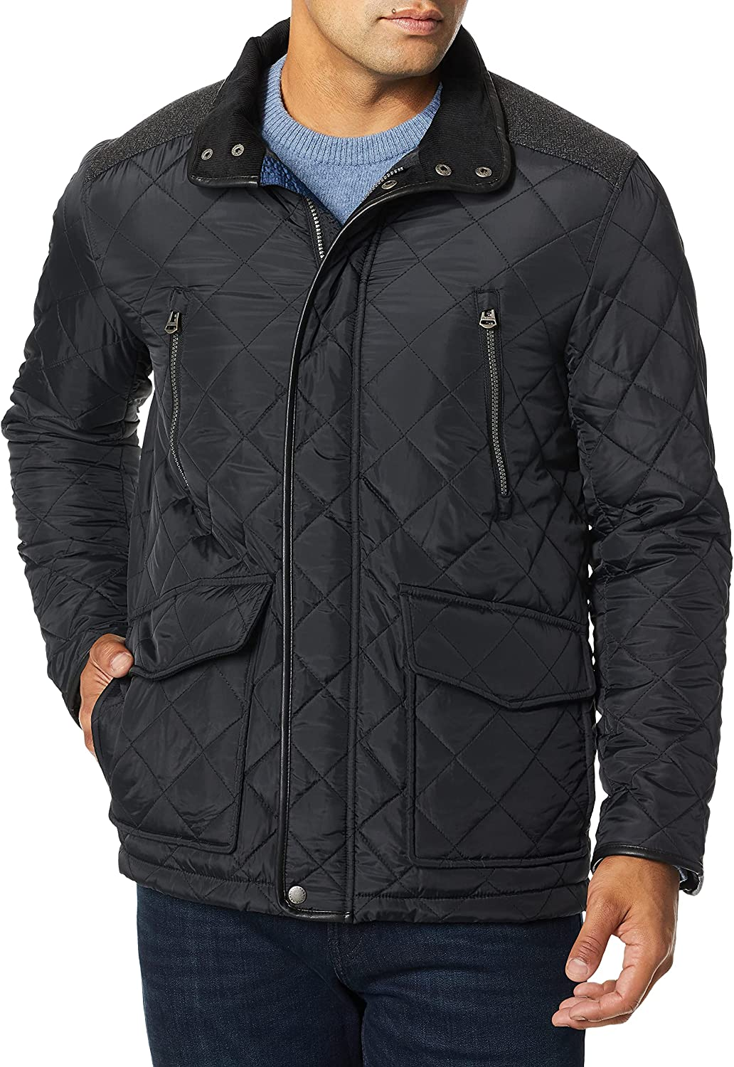 Cole Haan Men's Quilted Jacket with Corduroy Collar