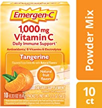 Emergen-C, Tangerine Flavor, Dietary Supplement Fizzy Drink Mix with 1000mg Vitamin C, Caffeine Free, 10 Count per pack, 3.3 Ounce