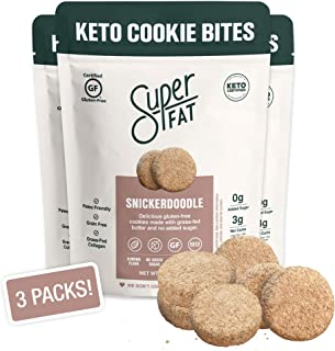 SuperFat Cookies Keto Snack Low Carb Food Cookies, Snickerdoodle 3 Pack - Gluten Free Dessert Sweets with No Sugar Added for Paleo Healthy Diabetic Diets