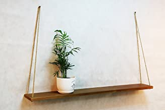 Long Hanging Wall Shelf with Rope 39x6 Inch Dark Brown Decorative Mid Century Wood Plant Pot Holder Modern Wooden Swing Shelves Minimalist Mounted Flower Stand for Living Room Housewarming Gift
