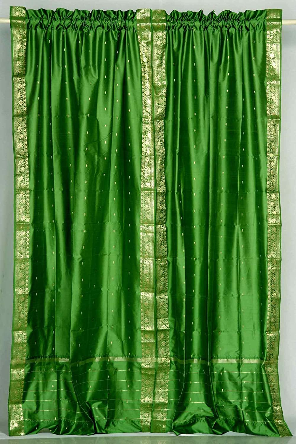 Indian Selections Lined-Forest Green discount Rod Mail order Curta Sheer Pocket Sari