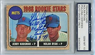 Nolan Ryan Signed 1968 Topps Rookie Card #177 RC graded mint 10 autograph - PSA/DNA Certified - Baseball Slabbed Autographed Cards