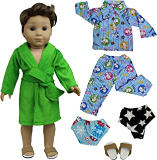 ZITA ELEMENT 2 Sets Pajamas Bathrobe with 2 Underpants and 1 Slippers Shoes for American 18 inch Boy Doll Logan Doll Nightgown Sleepwear Clothes Outfits