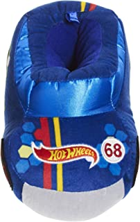 Image of Blue Hot Wheels Race Car Slippers for Toddler Boys