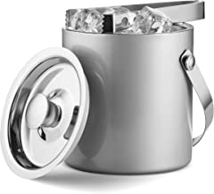 Mitbak Doubled Walled Ice Bucket with Matching Ice Tongs | Sleek Insulated Stainless Steel Ice Holder Will Keep Ice Cubes Frozen for Hours | Elegant Kitchen and Bar Accessories | 1.5L Silver