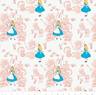 Disney Alice in Wonderland Golden Afternoon Toile In Pink Blush Fabric From Camelot By the Yard