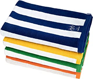 Oversized beach towel extra thick white oxford blue stripes 100% cotton