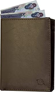 Flying Fossil Genuine Leather Hand-Crafted Trifold Wallet with RFID Protection, Quick Access Slot, Ultra Slim Trifold Wallet with 10 Card Slot, Coin Pocket and 2 Currency Pocket, FFW00015-16