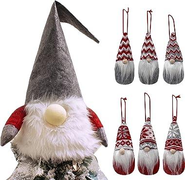 JOYIN Christmas Gnome Tree Topper 28 Inch Large and 6 PCS Gnome Plush Ornaments Swedish Santa Christmas Decoration Ornaments