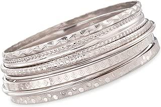 Ross-Simons Italian Sterling Silver Jewelry Set: 7 Assorted Texture Bangle Bracelets