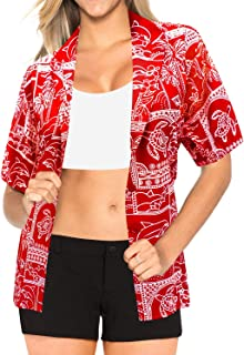Women Plus Size Funky Hawaiian Shirt Shortsleeve Cover Up Printed A