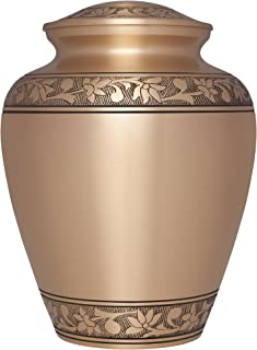 Bronze Funeral Urn by Liliane Memorials - Cremation Urn for Human Ashes - Hand Made in Brass - Suitable for Cemetery Burial or Niche - Large Size fits Remains of Adults up to 200 lbs - Tropez Model