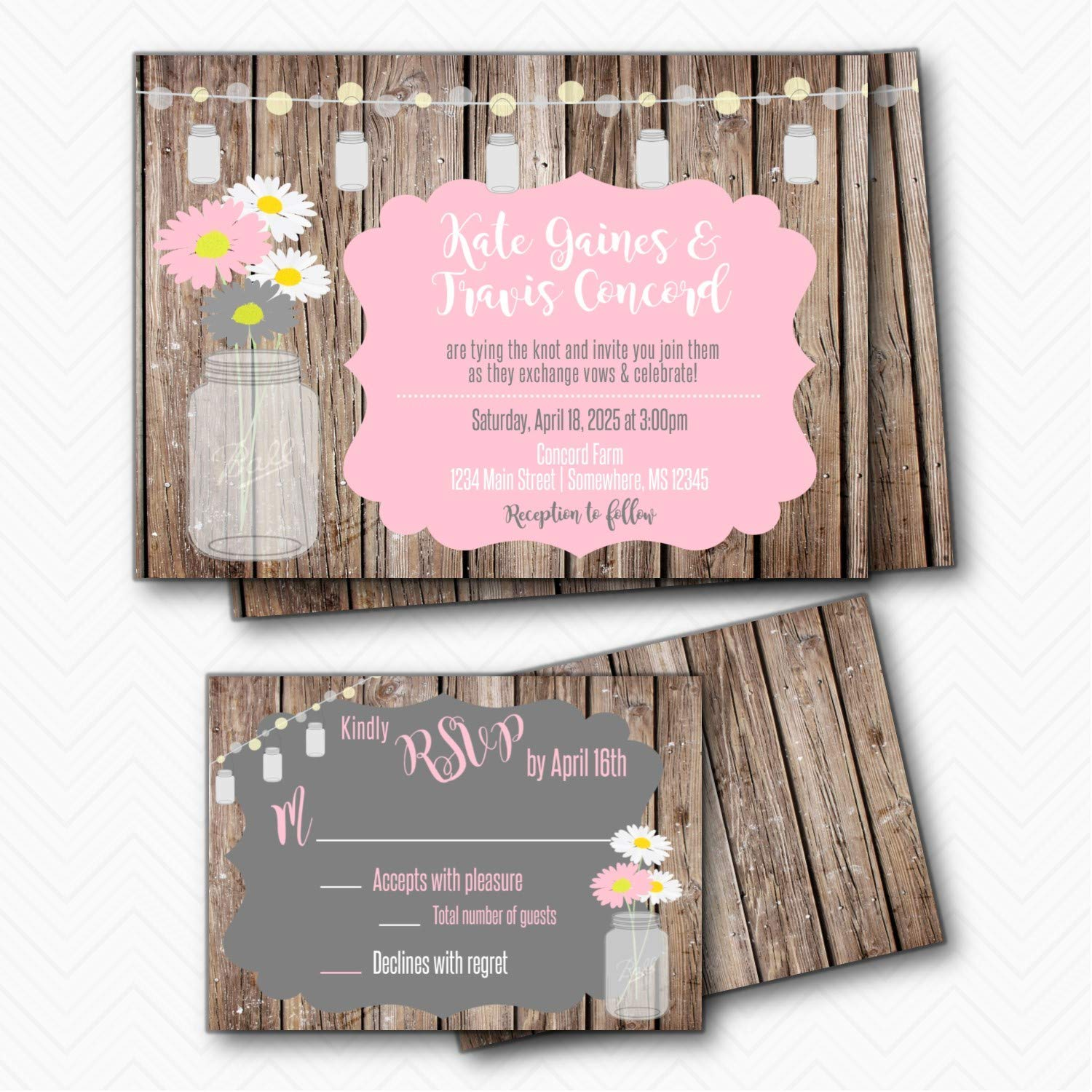 Mason Jar Rustic Wood Mail order cheap OFFicial Daisy Wedding with w Invitation RSVP set