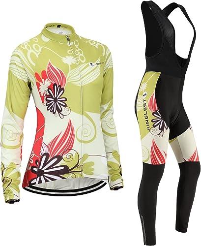 JUNGLEST Maillot de Cyclisme Femme Manches Longues Jersey(S5XL,Option Cuissard,3D Coussin) N228
